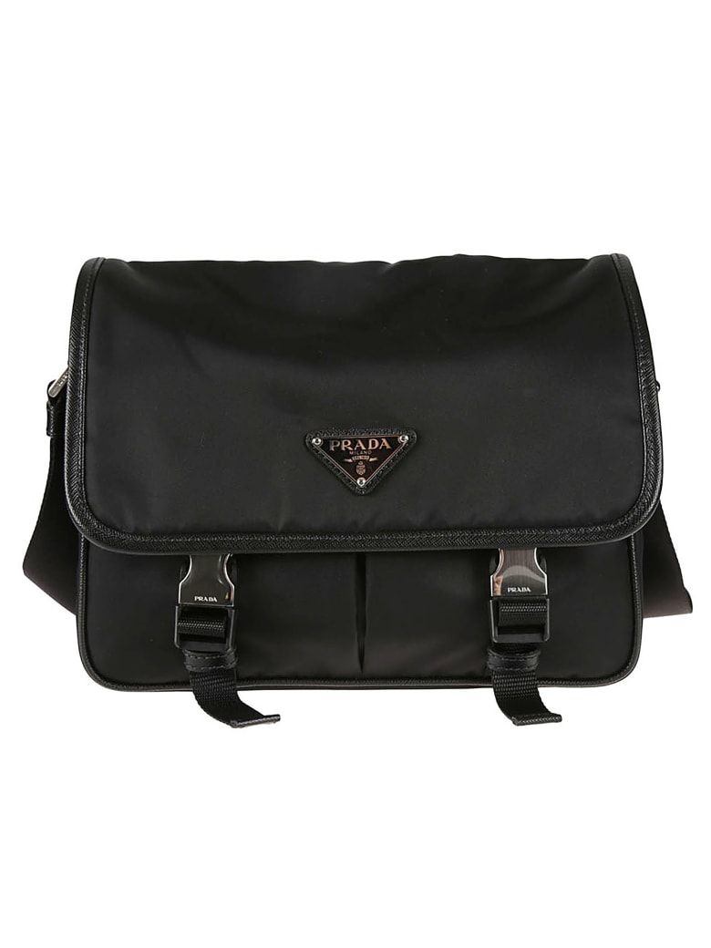 Prada Buckled Flap Logo Shoulder Bag - Nero