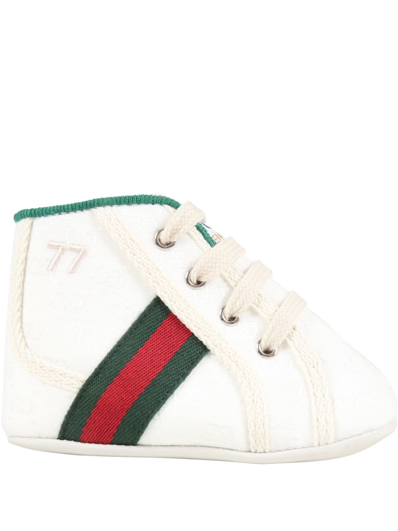 Gucci White Sneakers For Baby Kids With Double Gg - White