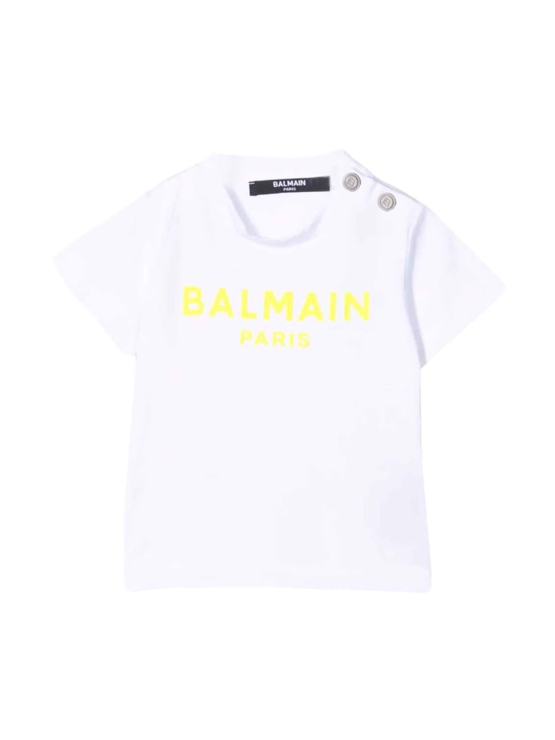 Balmain White Newborn T-shirt - Bianco/giallo