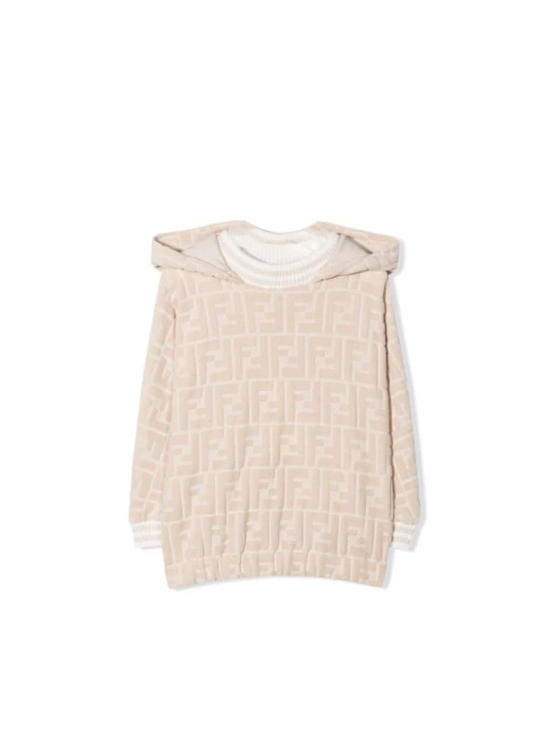Fendi Newborn Sweatshirt With Ff Logo - Begie
