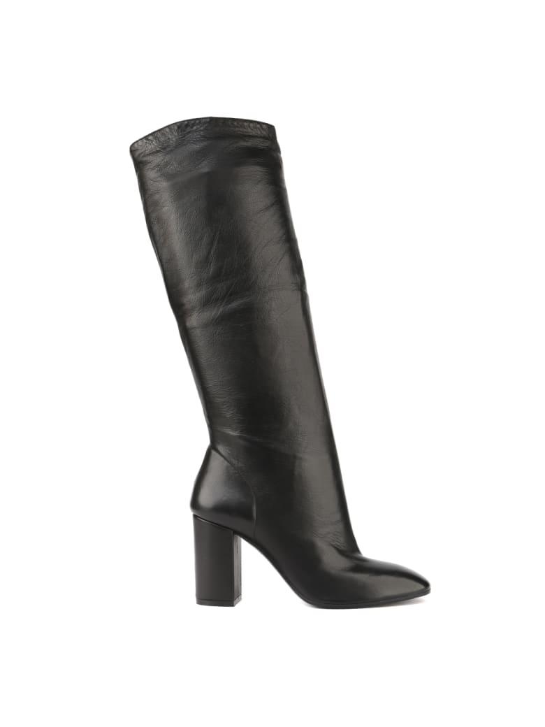 Aldo Castagna Black Leather High Boots - Black