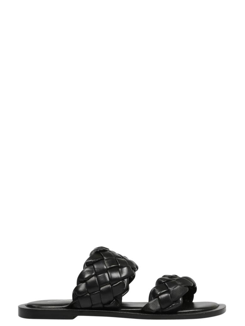 Coral Blue Double Band Sandals - Black