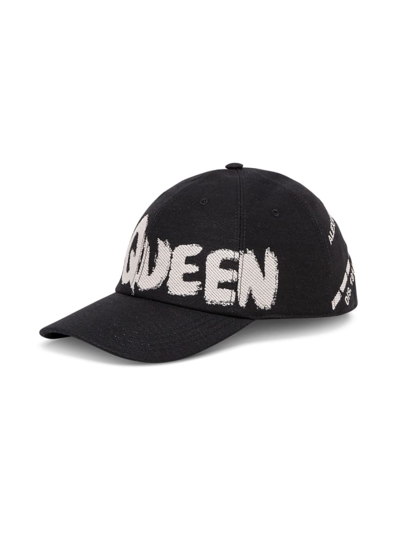 Alexander McQueen Cotton Hat With Graffiti Logo Print - Black