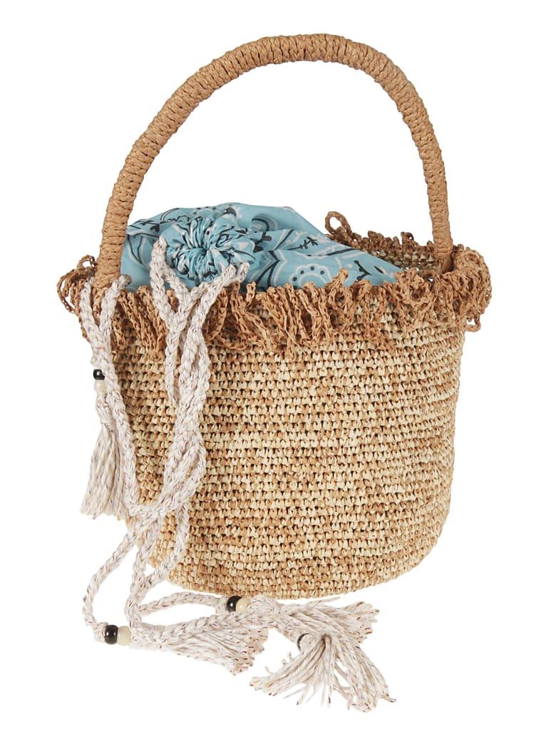 Alanui Raffia Fringed Straw Bucket Bag - Beige