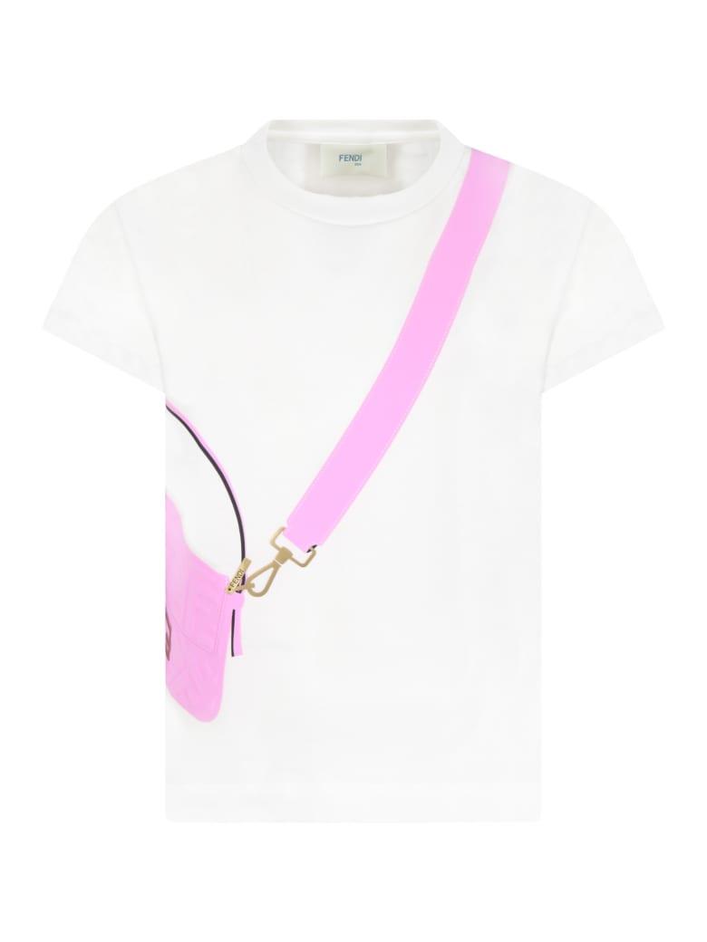 Fendi White T-shirt For Girl With Purple Bag - White