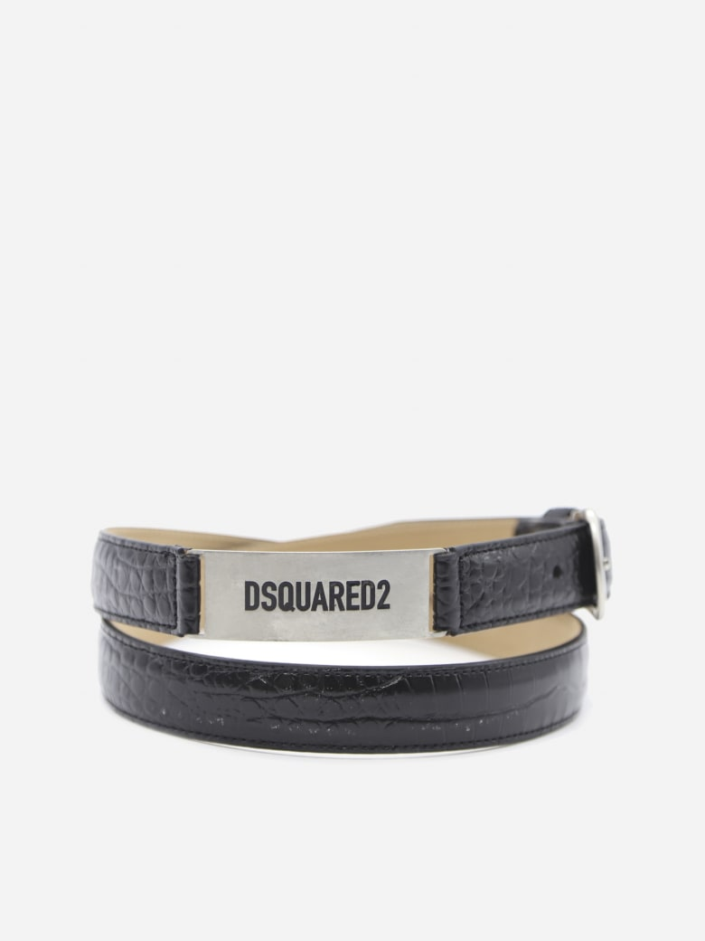 Dsquared2 Embossed Leather Belt With Logo Plate - Black