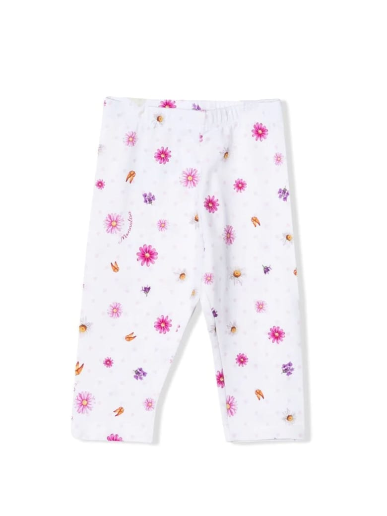 Monnalisa White Stretch-cotton Trousers - Bianco+lilla