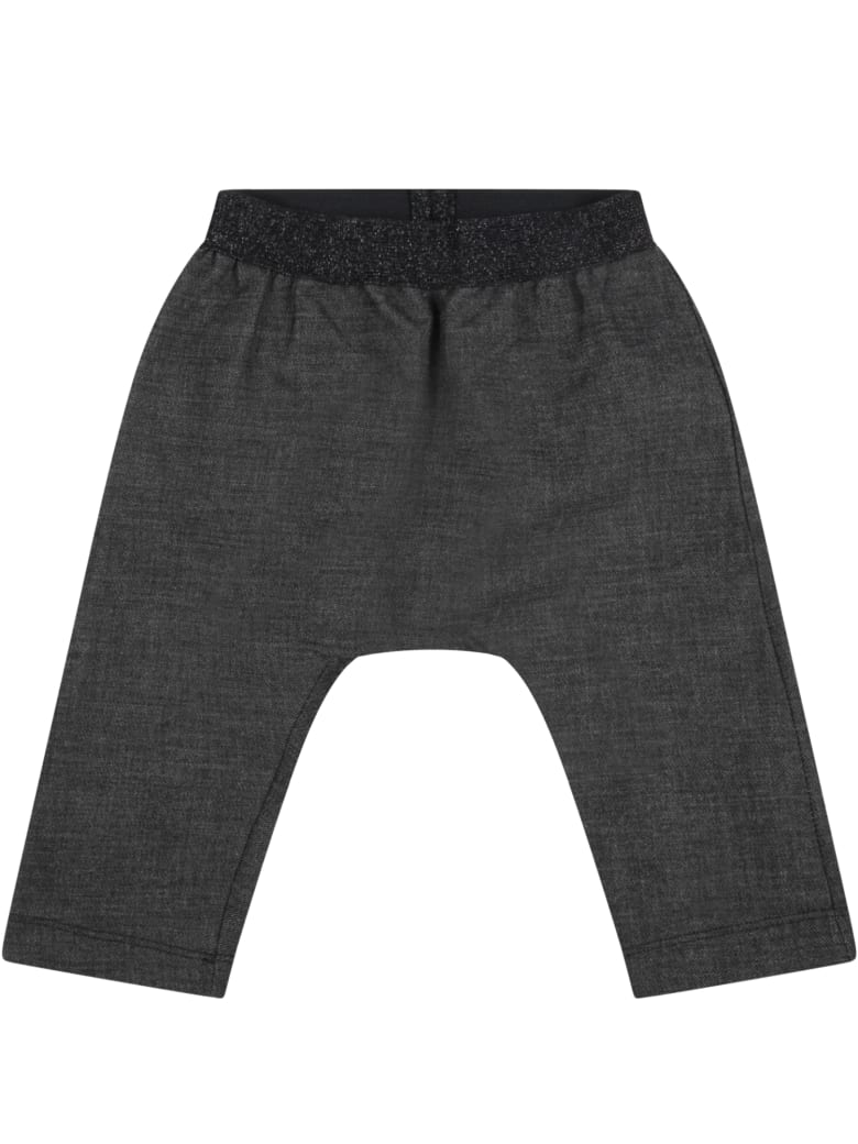 """Caffe' d'Orzo Gray """"demi-baby"""" Trousers For Baby Girl With Lurex Details - Grey"""