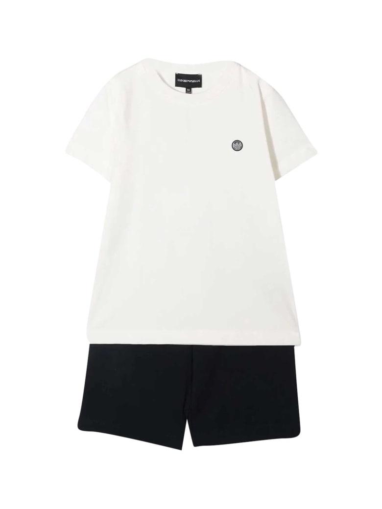 Emporio Armani Sports Suit With Print - Bianco