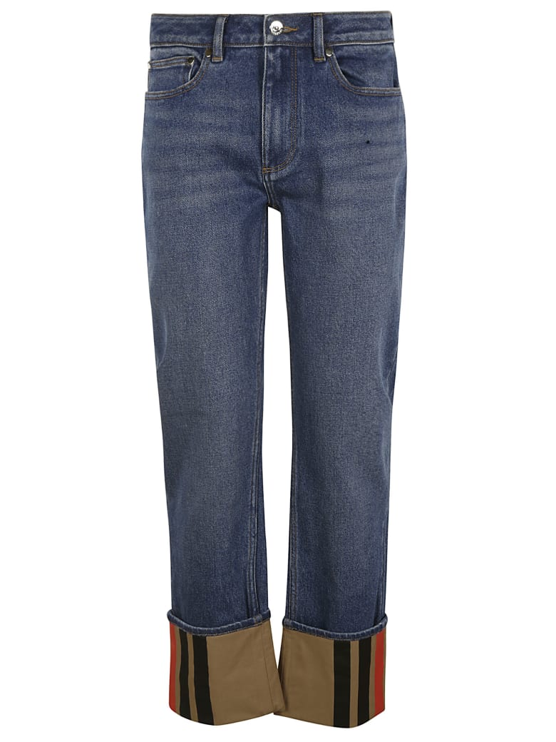 Burberry Folded Cuff Buttoned Jeans - Blue