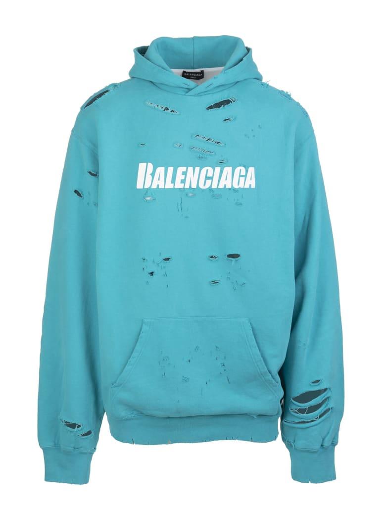 Balenciaga Unisex Turquoise Caps Destroyed Hoodie - Turquoise/white