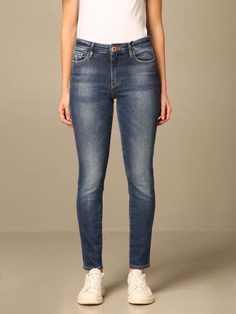 Armani Collezioni Armani Exchange Jeans Armani Exchange Super Skinny Cropped Jeans In Washed Denim - Denim