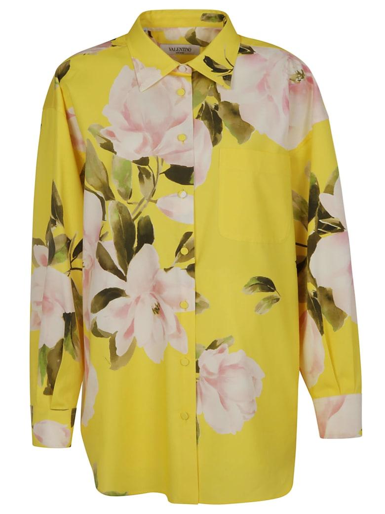 Valentino Floral Print Long Shirt - Yellow/Pink