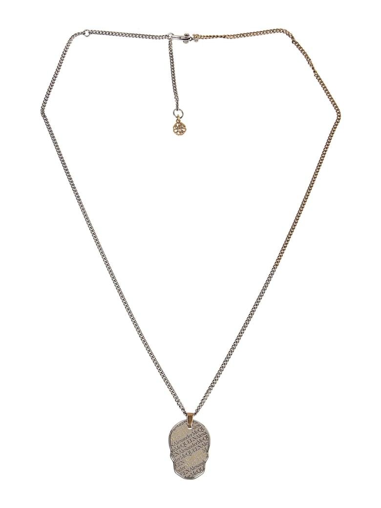 Alexander McQueen Skull Tag Necklace - A Silver A Gold