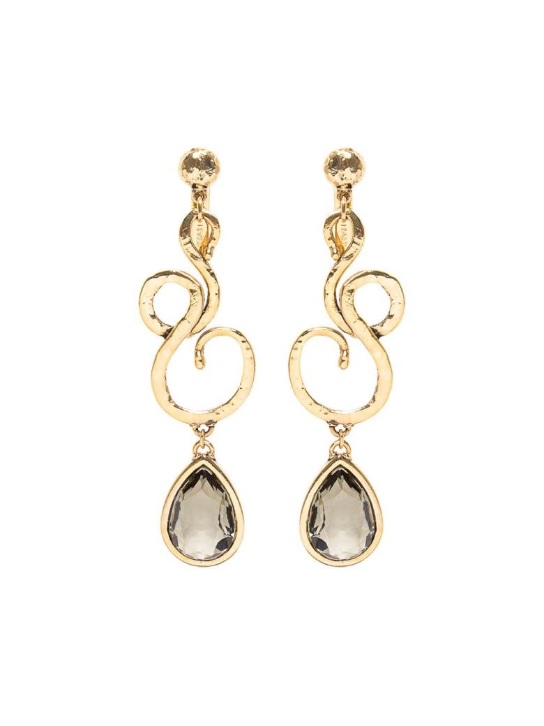 Alberta Ferretti Golden Metal Earrings With Stones - Metallic