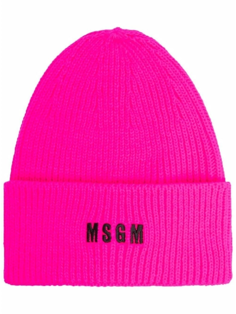 MSGM Chunky Knit Hat With Logo - Fuxia