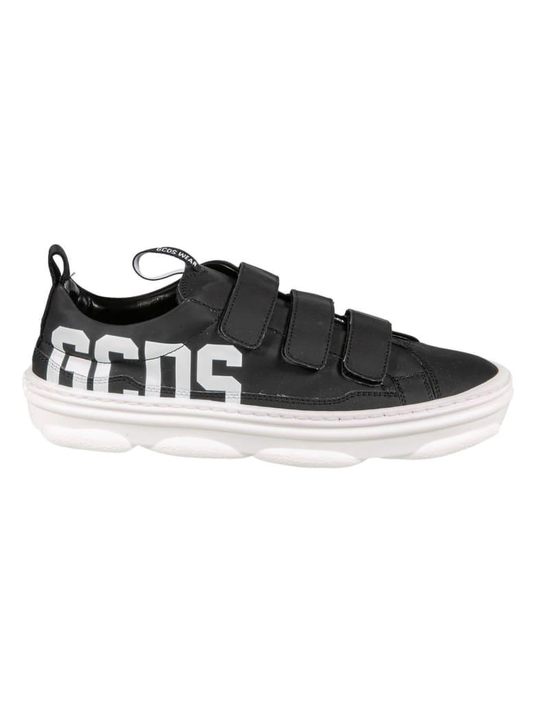 GCDS Triple Velcro Strap Logo Print Sneakers - Black/White