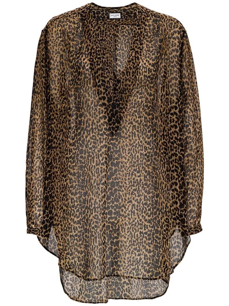 Saint Laurent Animalier Wool Shirt - Brown