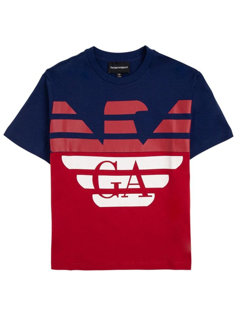 Emporio Armani Bicolor Cotton T-shirt With Logo Print - Blu