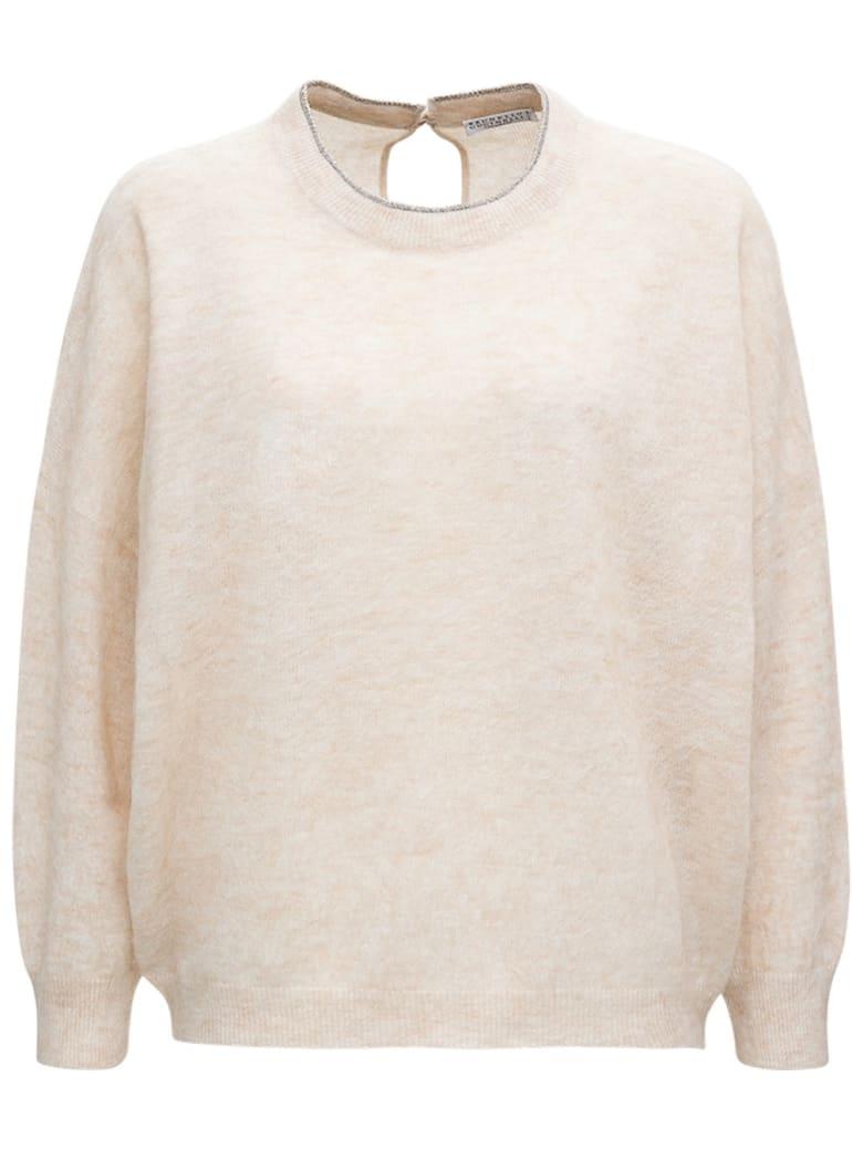 Brunello Cucinelli Beige Mohair Wool Sweater - Beige