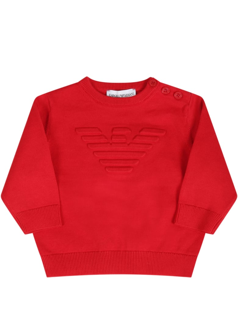 Armani Collezioni Red Sweater For Babyboy With Logo - Red
