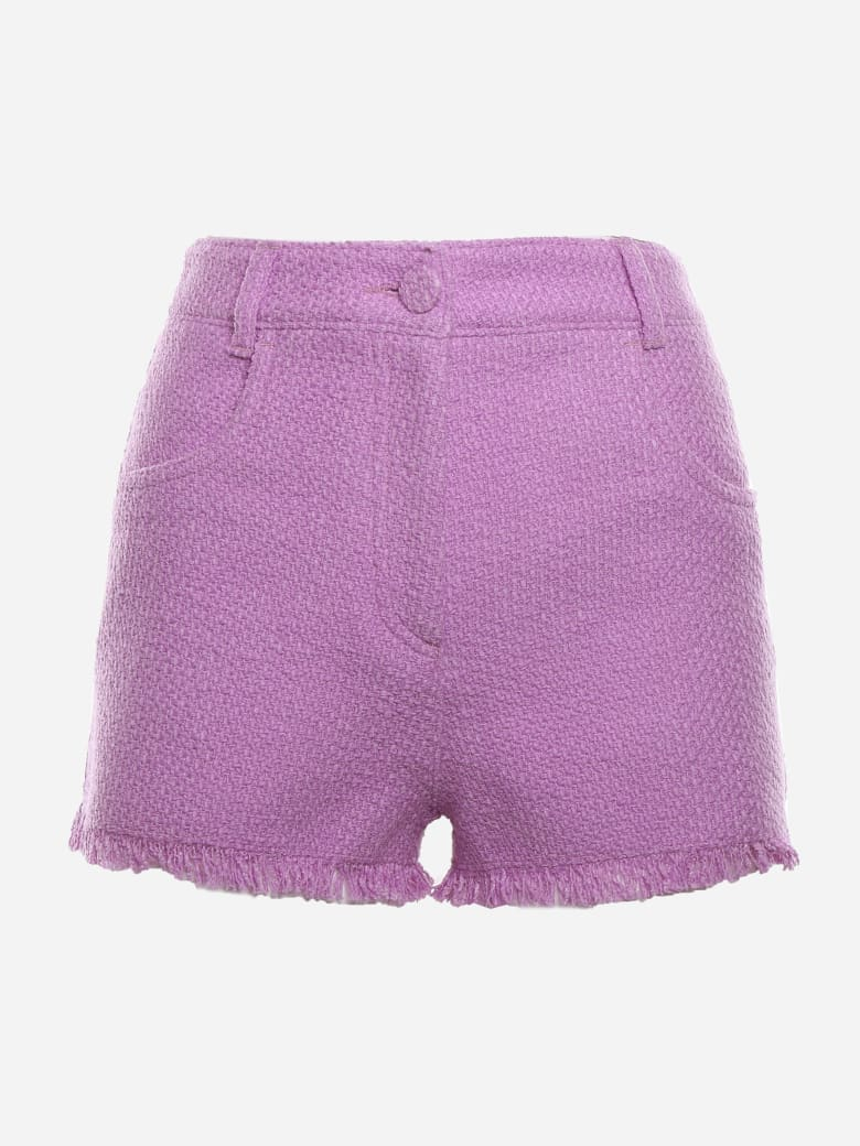 MSGM High-waisted Tweed Shorts With Fringed Edges - Wisteria