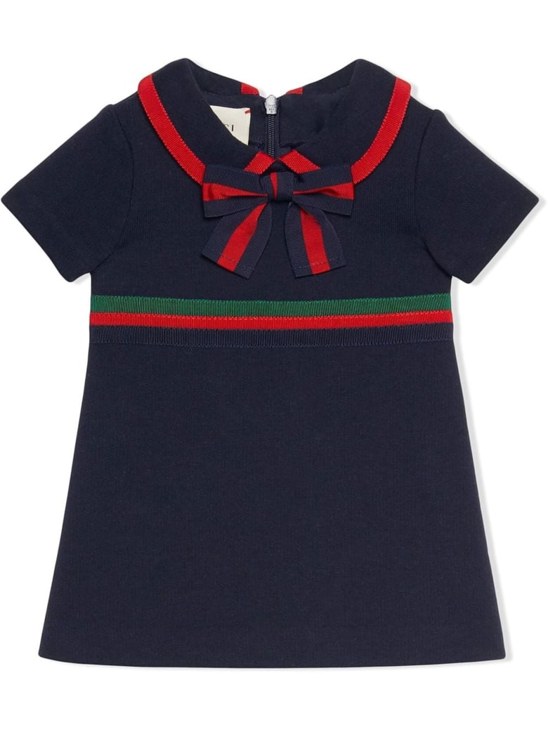 Gucci Dark Blue Cotton Jersey Dress - Blu