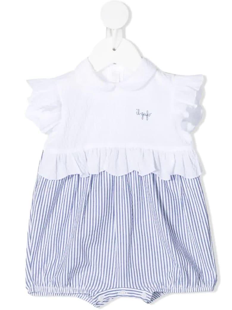 Il Gufo Newborn White And Blue Seersucker Jumpsuit - Blu denim