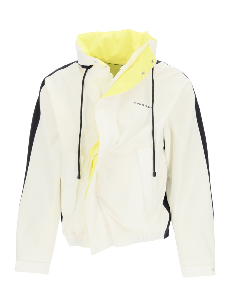 Y/Project Asymmetric Cotton Blouson - WHITE BLACK YELLOW (White)