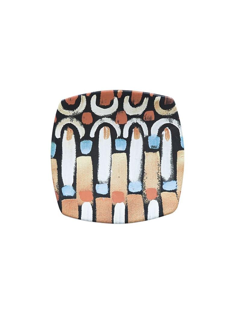 Le Botteghe su Gologone Plates Square Ceramic Colores 20,5x20,5 Cm - Black Fantasy