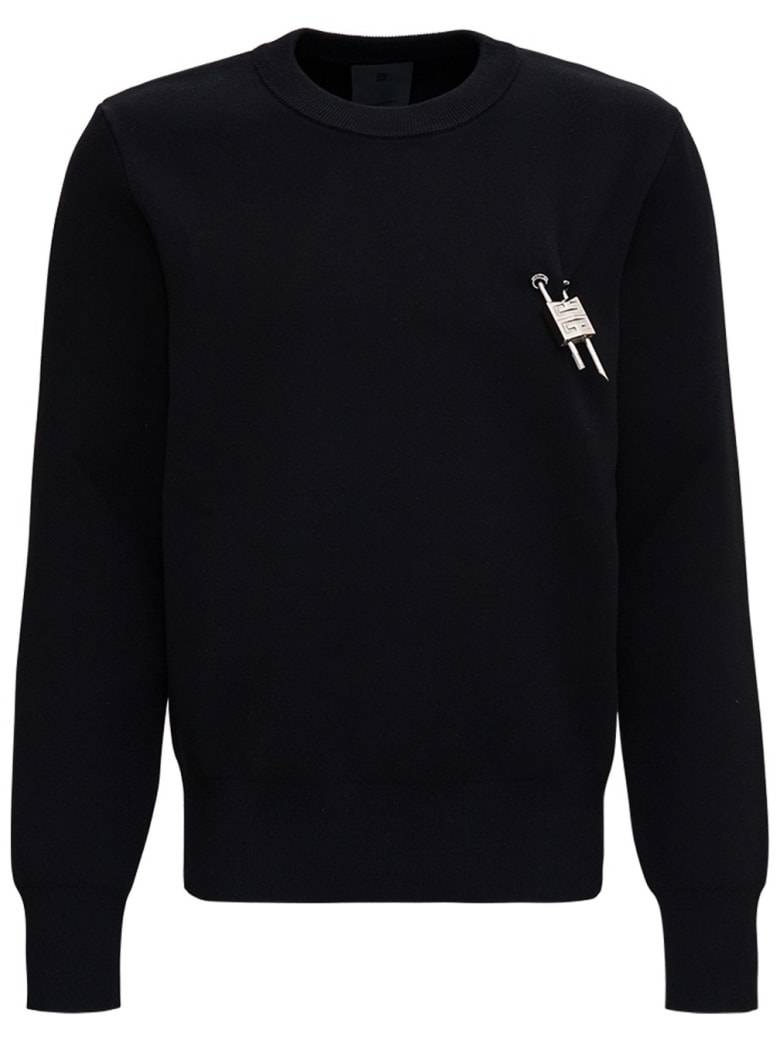 Givenchy Black Sweater In Viscose Blend With 4g Lock Detail - Black