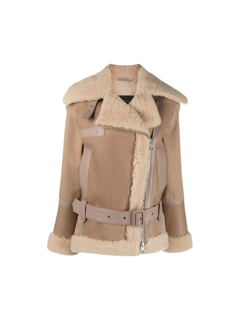 Mr & Mrs Italy Elizabeth Sulcer's Capsule Cotton Drill, Shearling And Leather Biker Jacket For Woman - CAPPUCCINO / BEIGE