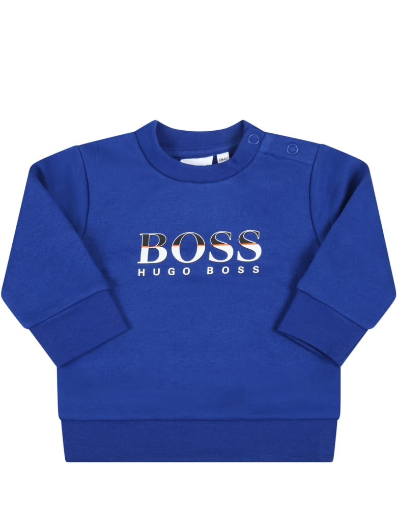 Hugo Boss Royal Blue Sweatshirt For Baby Boy With Logo - Blue
