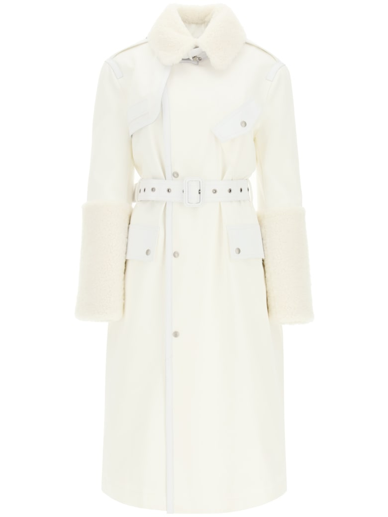 Mr & Mrs Italy Cotton Trench Coat With Leather And Shearling Inserts - OFF WHITE SAIL WHITE (White)