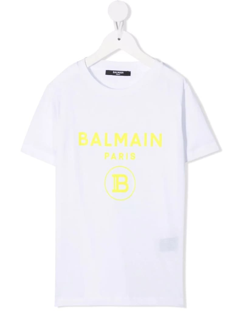 Balmain Kids White T-shirt With B Logo In Yellow Velvet