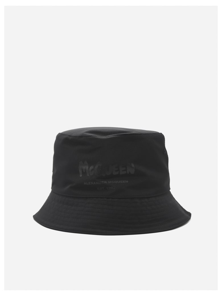 Alexander McQueen Technical Fabric Hat With Tone-on-tone Logo Print - Black