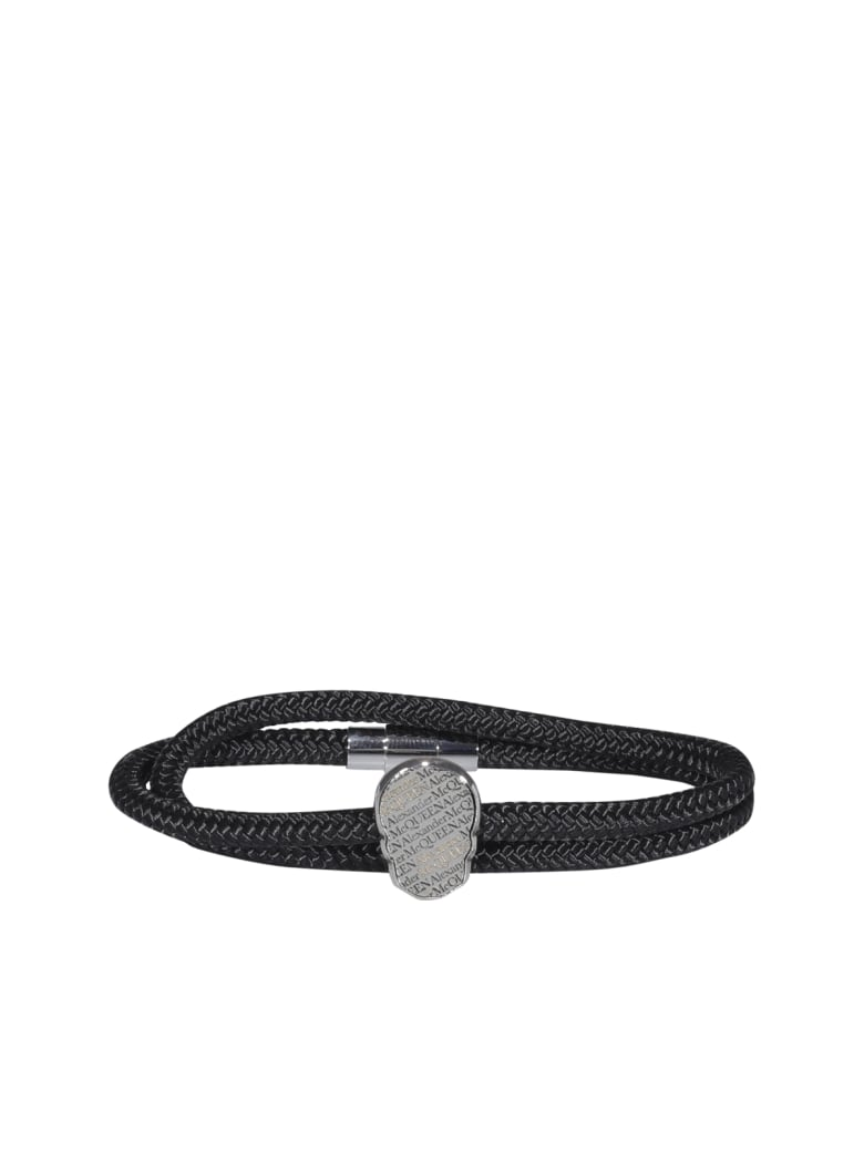 Alexander McQueen Skull Tag Double Wrap Bracelet - Argento