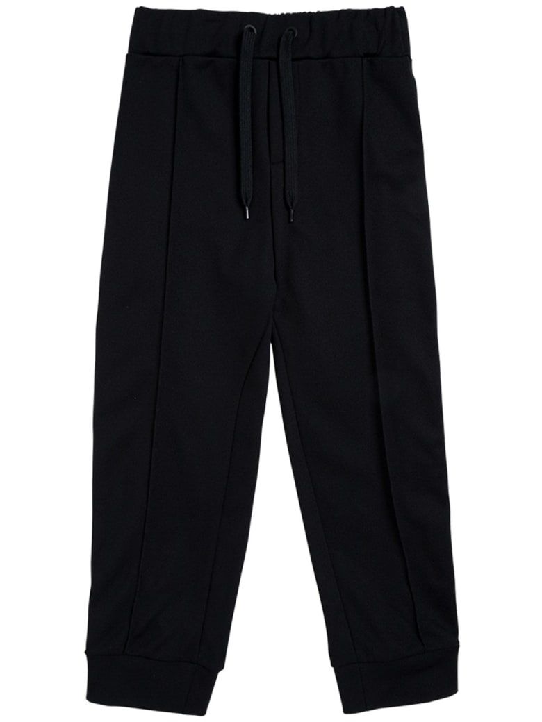 Fendi Cotton Blend Trousers With Ff Side Bands - Black