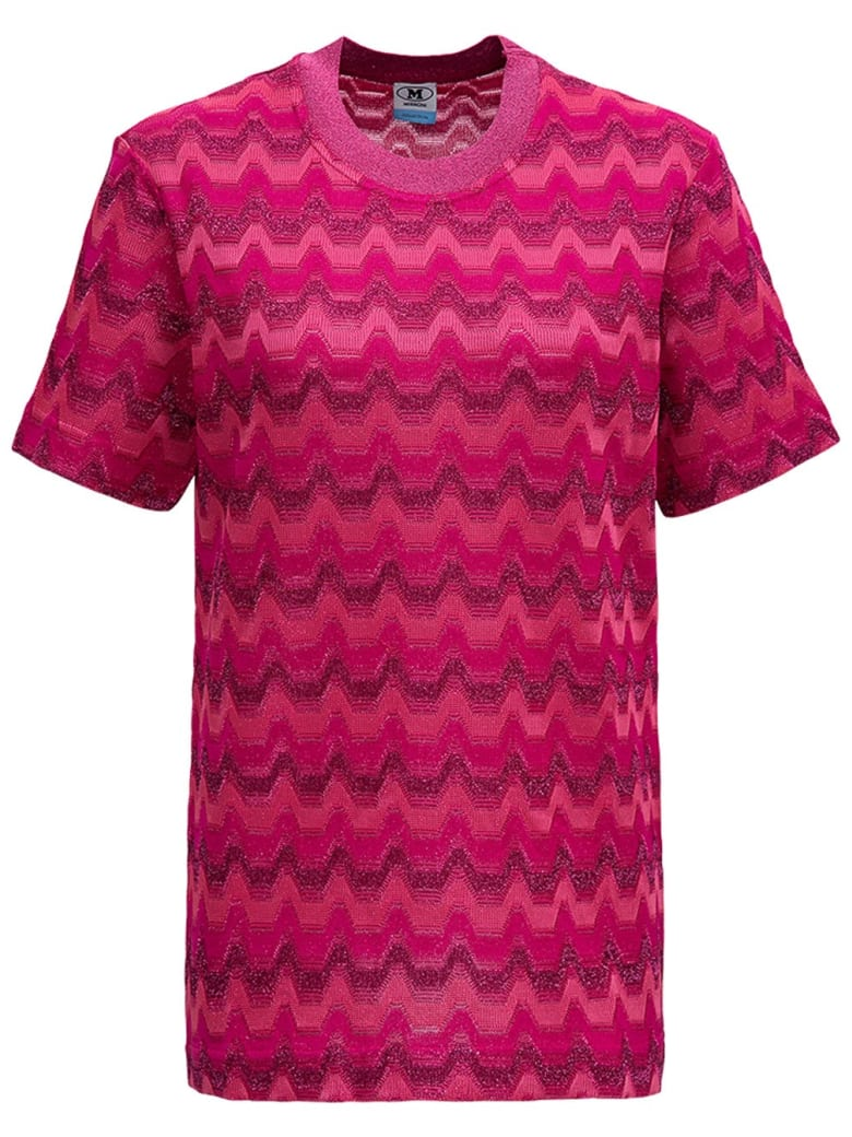 M Missoni Zig Zag Cotton Blend T-shirt - Fuxia