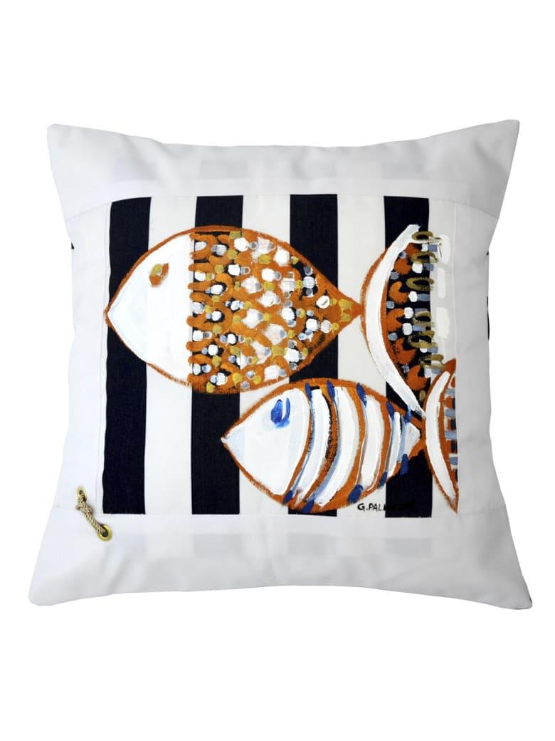 Le Botteghe su Gologone Cotton Hand Painted Indoor Cushion 70x70 cm - Black Fantasy