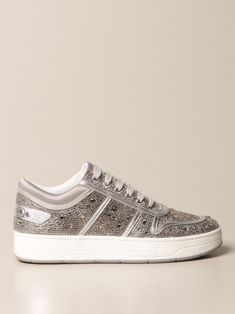 Jimmy Choo Sneakers Jimmy Choo Hawaii Sneakers Studded With Crystals - Silver