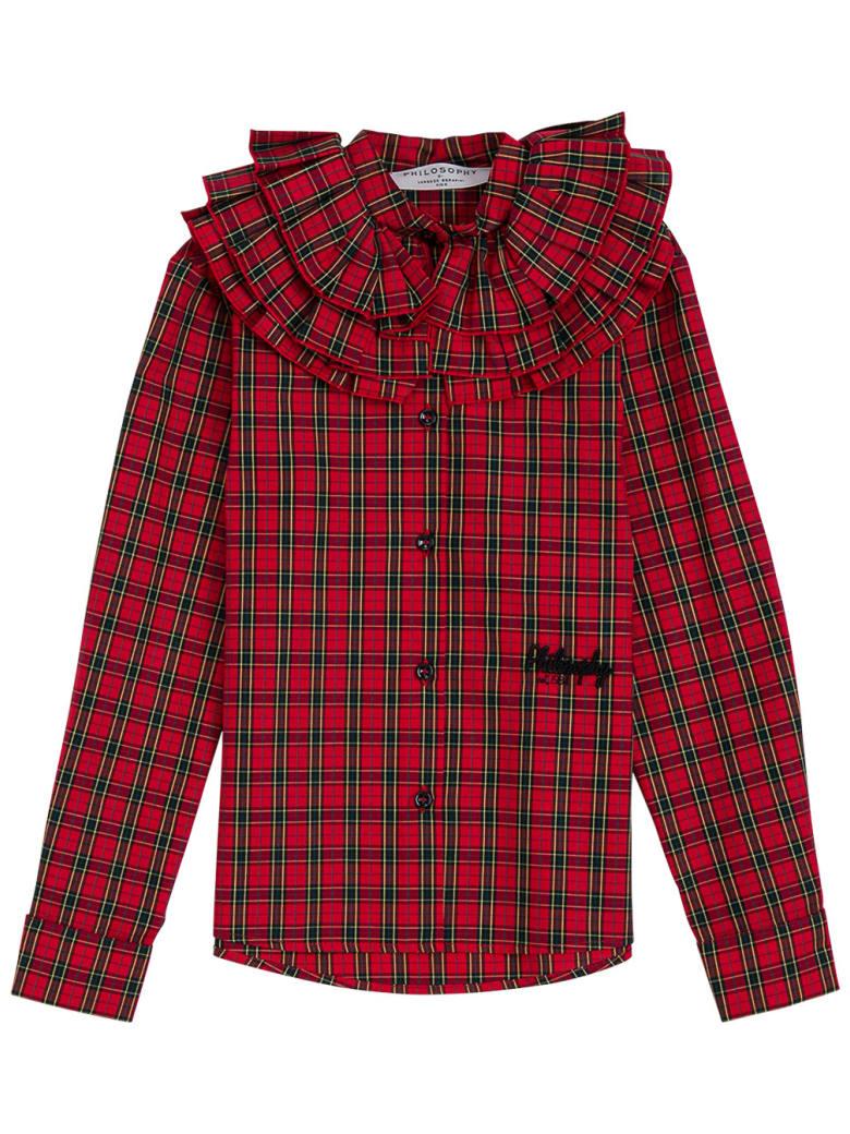 Philosophy di Lorenzo Serafini Kids Check Cotton Shirt With Ruffles Detail And Logo - Red