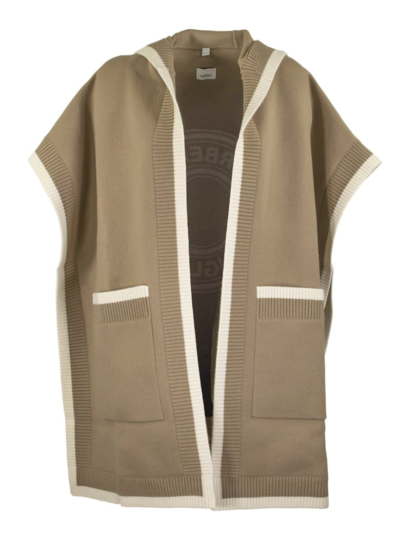Burberry Carla Knt - Wool And Cashmere Hooded Cape With Jacquard Graphics And Logo - Archive Beige