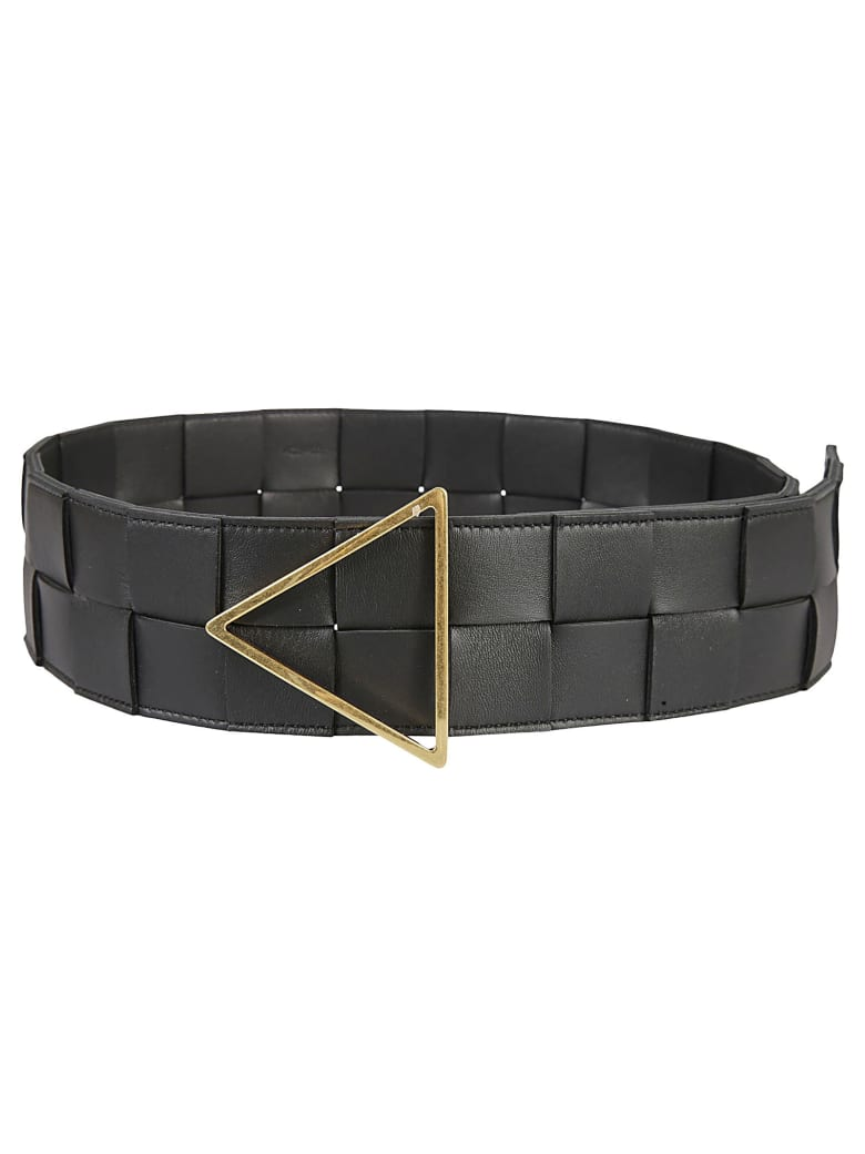 Bottega Veneta Intreccio Belt - Black/Gold