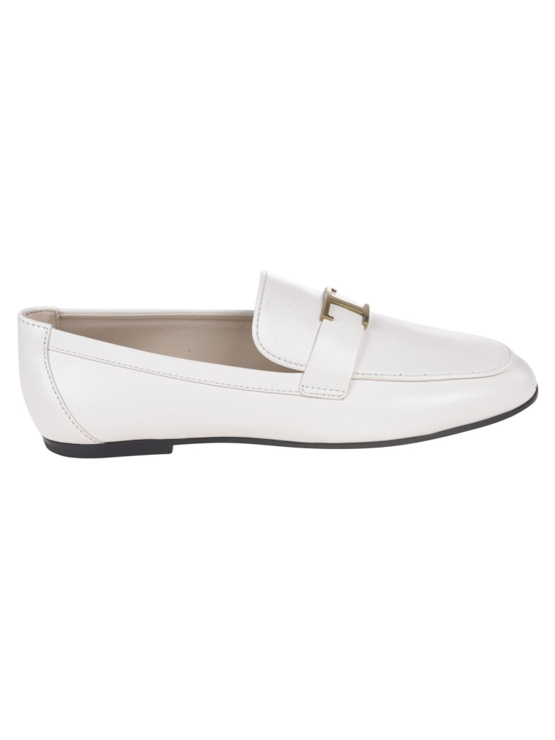 Tod's T Logo Plaque Loafers - Latte