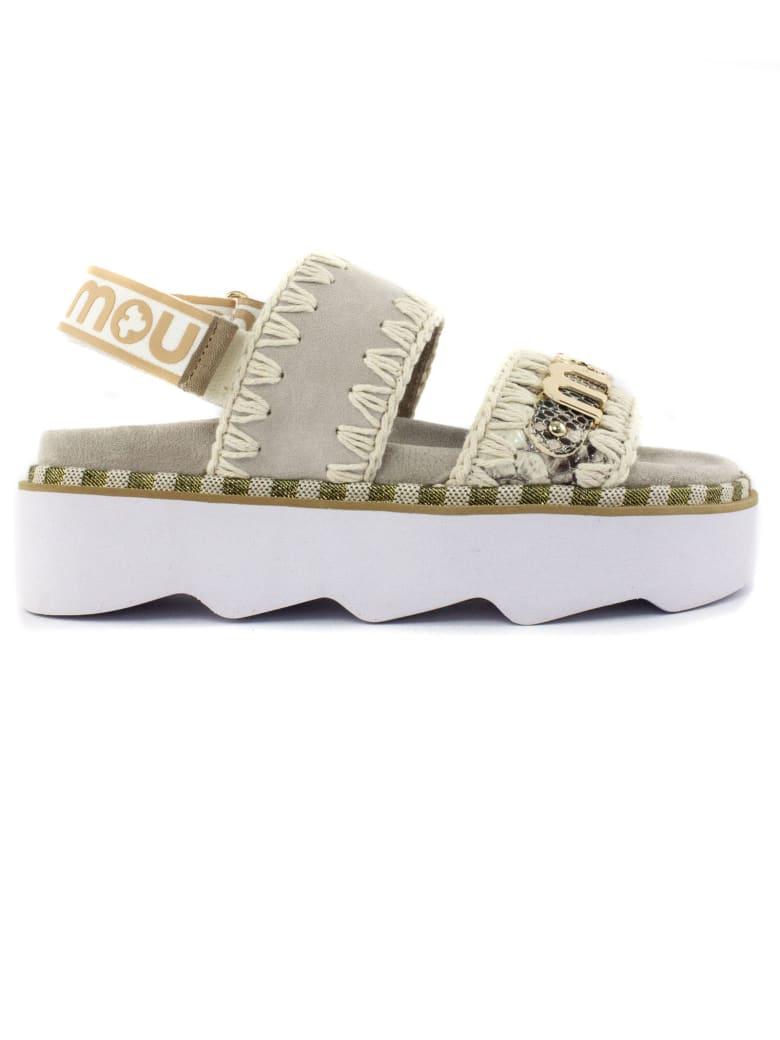 Mou Beige Leather Sandal - Beige