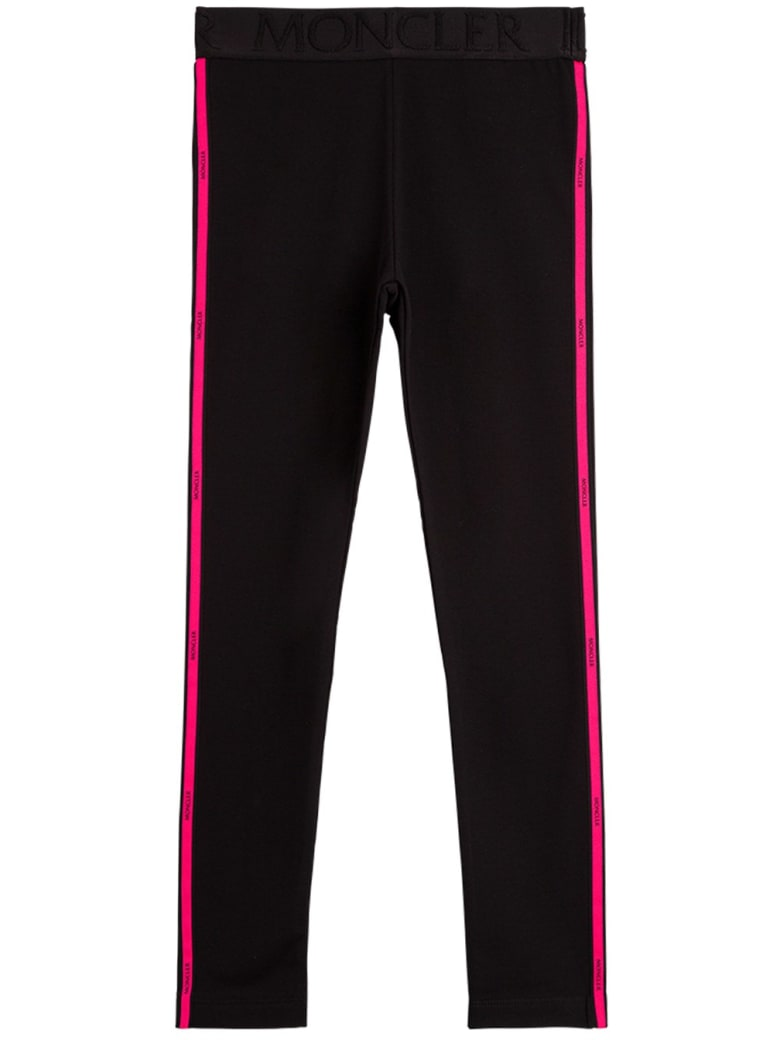 Moncler Cotton Pants With Side Logo Band - Black
