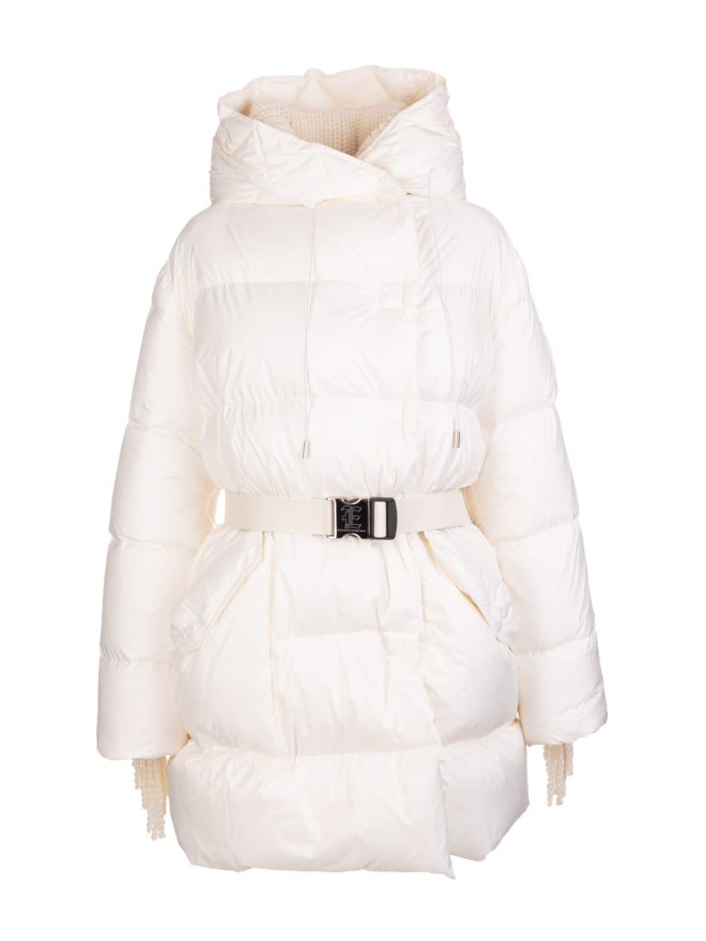 Ermanno Scervino White Down Jacket With Belt And Sleeve With Concealed Fringes - MARSHMALL
