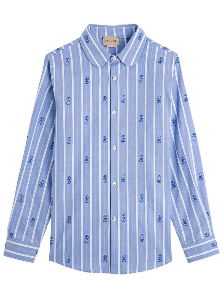 Gucci Striped Cotton Shirt With Gg Motif - Blu