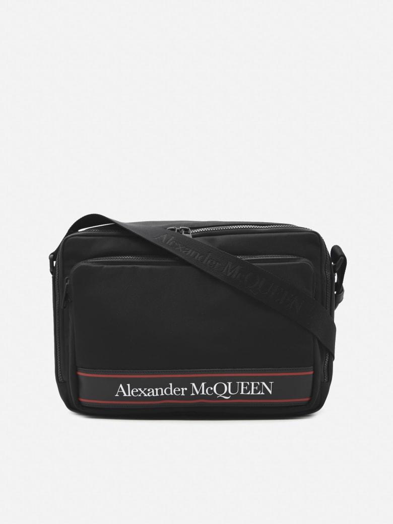 Alexander McQueen Cotton Messenger Bag With Contrasting Logo - Black